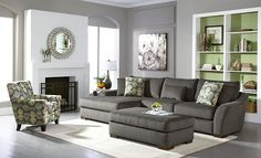 Orleans Gray Upholstery Collection | Furniture.com. Gray textured chenille 2 piece sectional with optional ottoman and wide herringbone styling.
