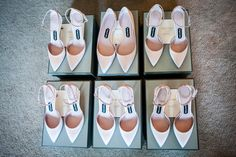 Custom-made Tom Ford shoes for the bridesmaids. One particularly tall bridesmaid wore flats, while the rest were in kitten heels.  Photographed by Brian Wedge