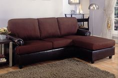 Sectional w chaise chocolate Coaster CO-500605