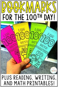 Celebrate the 100th day of school with these math, reading, writing, and literacy activities for 1st grade and 2nd grade. These fun printables are the easiest, no prep pages to use for your one hundred days of school celebration! If you're a teacher who wants ready to go activities, these were made for your first grade or second grade classroom! Plus, there are 100th day of school bookmarks, a crown, and art pages!