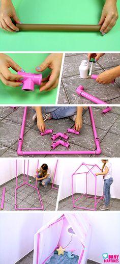 Eu Criando | Casinha de cano PVC Pipe Diy Projects, Diy Tent, Kids Tents, Baby Room Decor, Diy Crafts For Kids, Kids Playing, Kids Room, Creative, Tinta Spray