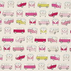If you love fun décor and whimsical designs, the Campervans Curtain Fabric Pink is a perfect fit. It's especially grand if you're an avid weekend warrior taking going wherever the wind blows you when the work-week is finished. Bedroom Themes, Girls Bedroom, Bedroom Ideas, Campervan Curtains, Vw Logo, Novelty Fabric, Curtain Fabric, Camper Van, Printing On Fabric