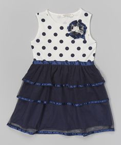 Look what I found on #zulily! Navy & White Polka Dot Tiered Dress - Infant, Toddler & Girls by Richie House #zulilyfinds