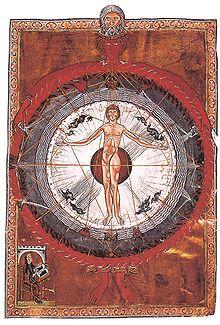 """Universal Man"" illumination from Hildegard's Liber Divinorum Operum, I.2. Lucca, MS 1942, early 13th century"