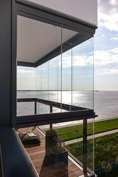 SL 25 # balcony glazing in Bremerhaven. Balcony Glass Design, Glass Balcony Railing, Balcony Window, Window Grill Design, Simple House Plans, Glass Barn Doors, Small Buildings, Small House Design, Bars For Home