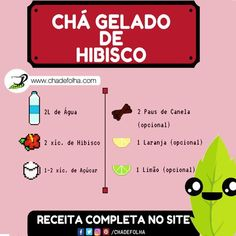 Receita de Chá Gelado de Hibisco! https://www.chadefolha.com/cha-gelado-de-hibisco/ #chá #hibisco #saúde #chadefolha #vidasaudavel #horadochá #emagrecimento #fit
