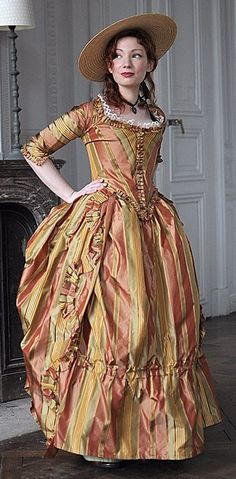 Orange stripes, brighter than this, but still subdued. 18th century polonaise (Source: http://figjamlolita.tumblr.com)