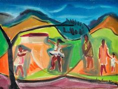 LUIZ VERRI - Pulando corda, óleo sobre tela, 30 x 40 cm. Assinado 1985