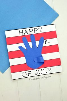 Simple Patriotic Red, White, and Blue Paper Craft with Template - Handprint & Footprint Arts & Crafts - Simple Happy of July Paper Craft with Template - 4th July Crafts, Fourth Of July Crafts For Kids, Patriotic Crafts, Paper Crafts For Kids, Arts And Crafts, Craft With Paper, Simple Kids Crafts, Toddler Art, Toddler Crafts