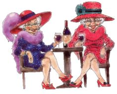 """Red Hat Society .  To be sung to tune of """"My Favorite Things"""". Red shoes and purses and boas with feathers Purple ensembles to wear in all weathers Earrings that sparkle and big diamond rings These are a few of my favorite things!  by Barbara Lukas"""