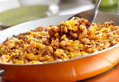 This scrumptious one-skillet dish is easy to make, budget-friendly and kid-friendly. It's got lots of favorite ingredients like ground beef, corn, picante sauce, cheese and macaroni...it's a winner.