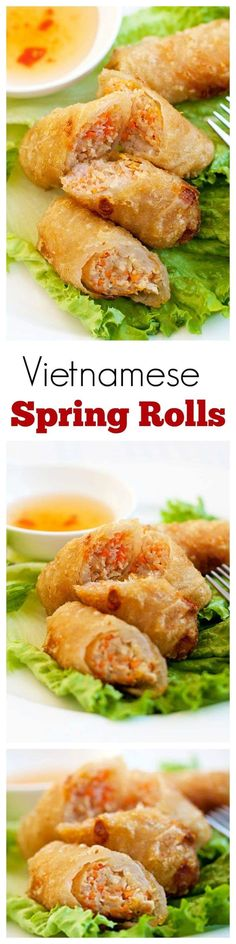 Vietnamese Spring Rolls (Cha Gio) - BEST spring rolls ever deep-fried to crispy ., Vietnamese Spring Rolls (Cha Gio) - BEST spring rolls ever deep-fried to crispy perfection. Loaded with crazy delicious filling, a perfect appetizer! Asian Recipes, Healthy Recipes, Ethnic Recipes, Asian Foods, Delicious Recipes, Cha Gio Recipe, Appetizer Recipes, Dinner Recipes, Italian Appetizers