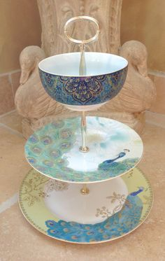 Peacock Blue 3 Tier cake Stand for cupcakes by HelensRoyalTeaHouse, $70.00