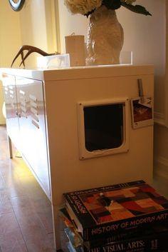 IKEA cabinet turned into hidden cat box
