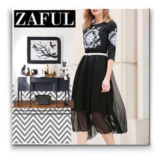 """""""Zaful 18#Embroidered Belted Silk Dress"""" by bamra ❤ liked on Polyvore"""