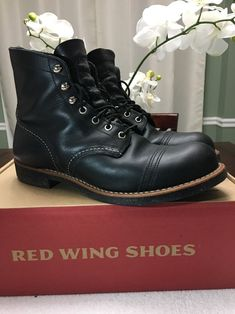 "Red Wing Heritage Iron Ranger 6"" Boots Black Harness 08114 D MSRP $320 SZ 8.5 #RedWing #Motorcycle"