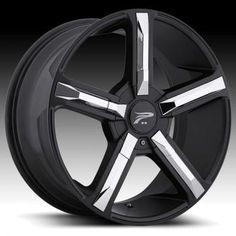 Platinum 499 Dynasty Black w/ Chrome Inserts Custom Rims Wheels