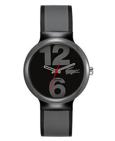 Lacoste Watch, Men's Goa Gray and Black Silicone Strap 2010545 - Men's Watches - Jewelry & Watches - Macy's $95
