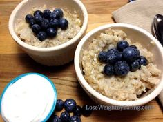 Oatmeal Recipes for Breakfast that Boost Weight Loss- Blueberries and Cream FAT BURNING Oatmeal (Fat Burning Cream) No Calorie Foods, Low Calorie Recipes, Diet Recipes, Protein Shakes, Fat Burning Cream, Healthy Oatmeal Recipes, Diet Plan Menu, Fat Burning Foods, The Fresh