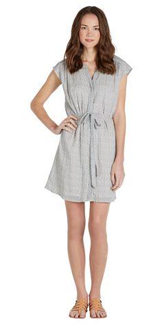 JOIE Verity Dress Off Porcelain/Dusty Blue | Shirt Dress (front) 100% cotton