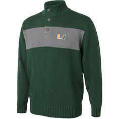 Miami Hurricanes Green/Ash Button Placket Mockneck Sweater - $29.99