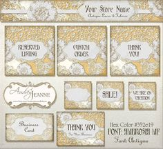 """Perfect Business Identification Package for Etsy stores that specialize in vintage lace, fabrics or clothing.  Also for wedding lace oriented stores and antique dealers.  Burlap background paired with vintage style laces (that are actually new art made to look old).  Includes: 1 Store banner, 3 special listing art pieces, 3 avatars, a business card (sheet of 8 1/2"""" x 11"""" jpeg) and enclosure cards (letter sized sheet).  Burlap n Lace Etsy Store Digital Banner Set by AudreyJeanneRoberts…"""
