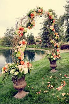Willow wedding arch - maybe something similar, but with pussywillows and fewer flowers