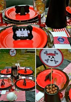 """""""Pirates by the Lake"""" Individual Place Settings...red & black the perfect colorway for the party (www.andersruff.com Aug 9, 2011)"""