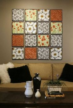Hanging paper & fabric. I love this idea & a very inexpensive way to decorate it your budget is low.