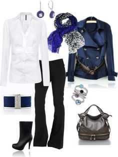 """""""Classic black and white with pops of blue."""" by desert-diva on Polyvore"""