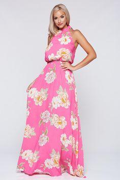 Comanda online, Rochie PrettyGirl corai cu elastic in talie cu imprimeuri florale. Articole masurate, calitate garantata!