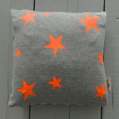 Screen printing neon stars on plain fabrics Star Cushion Neon - Ferm Living Star Cushion, Stoff Design, Textiles, Orange Grey, Little Star, Neon Colors, Soft Furnishings, Decorative Pillows, Throw Pillows