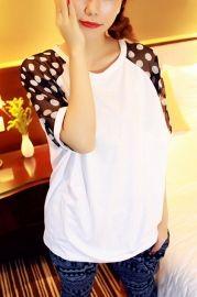 Loose Tee with Dots Printing Chiffon Sleeve - T-shirts/Vests