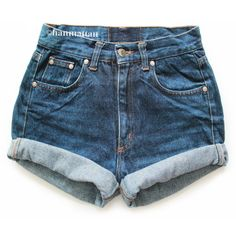 """ALL SIZES """"TURN"""" Vintage Levi high-waisted denim shorts dark blue cuffed rolled turn up jeans ($25) found on Polyvore"""