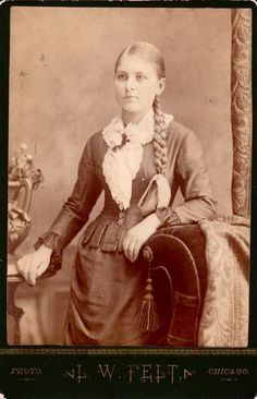 Antique Victorian cabinet card photo of young woman with a long, thick, blonde braid.