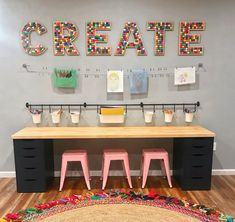 Playroom Design, Playroom Decor, Small Playroom, Colorful Playroom, Playroom Table, Modern Playroom, Kids Room Design, Children Playroom, Small Craft Rooms