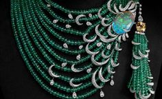 Cartier emerald diamond and opal necklace,