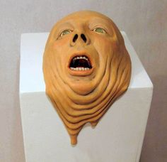 Melting Head #Ceramic Sculpture by Wesley T. Wright