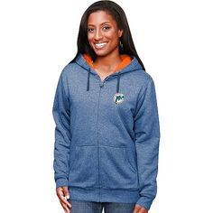 Miami Dolphins Historic Logo Women's Fortified Marled Full-Zip Hoodie - $18.99