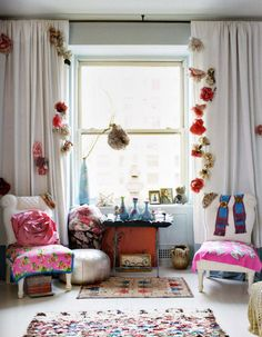 flowers in your curtains