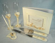 4 Piece Beach Theme Wedding Accessory Set Handcrafted with Starfish, Seashell and Sand Dollar