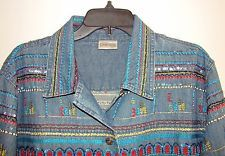 Women's Chico's Blue Denim Jacket Embroidery