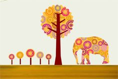 Elephant and Tree Wall Decals for Children
