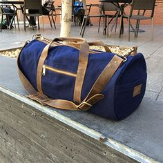 Gustin Waxed Canvas Duffel Bag - Navy | Crafted American