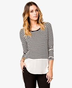 Striped Chiffon Hem Top | FOREVER21 - 2027704311
