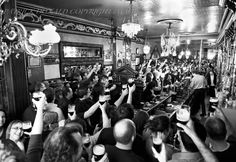 Black And White Photo Of The Long Hall Pub On Arthur's Day 2009 250 Year Celebrations Since Arthur Guinness Took The Lease On Saint James's Gate Dublin. Dublin Pubs, Best Of Ireland, Long Hall, Saint James, Photography Gallery, Guinness, Black And White, The Originals, Concert