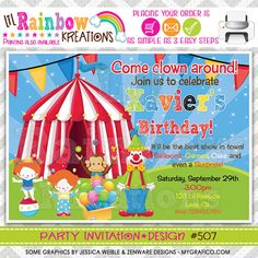507 DIY Circus Clowns Party Invitation Or by LilRainbowKreations