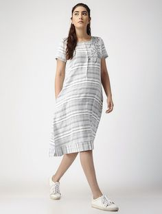 Buy Ivory Grey Striped Handwoven Organic Cotton Dress with Embroidery 100% Women Dresses Sustainable Living Pastel colored apparel embroidered details Online at Jaypore.com