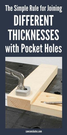 Using pocket holes to join materials of different thicknesses can be confusing. Here's the simple rule to remember how to set up your Kreg Jig to join thicker and thinner materials. Woodworking Patterns, Easy Woodworking Projects, Popular Woodworking, Woodworking Shop, Woodworking Plans, Woodworking Basics, Woodworking Classes, Kreg Jig Projects, Woodworking Magazine