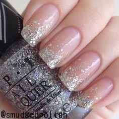 Make an original manicure for Valentine's Day - My Nails Glitter Tip Nails, Gold Nails, Cute Nails, Pretty Nails, White French Nails, French Manicure Nails, Sns Nails, Coffin Nails, Dipped Nails